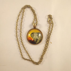 Accessories - Bronze Gold Elephant Glass Cabochon Necklace